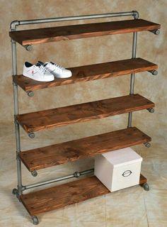 Easy diy pipe shelves ideas on a budget Diy Shoe Rack, Shoe Racks, Cheap Shoe Rack, Shoe Rack Models, Garage Shoe Rack, Rustic Shoe Rack, Build A Shoe Rack, Shoe Rack Closet, Wood Shoe Rack