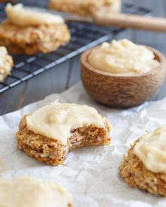 Paleo Carrot Cake Cookies. Everything you love about the cake in a grain free, healthy cookie, even the icing!
