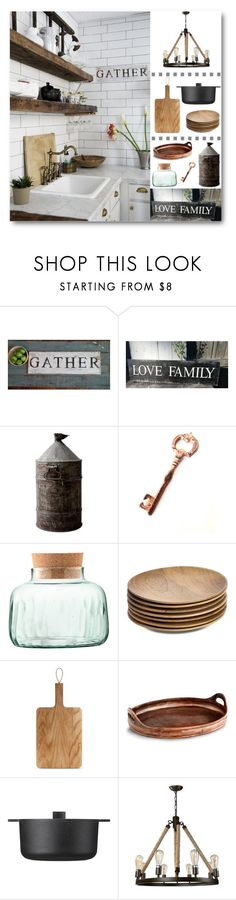 """""""Rustic Gather Kitchen"""" by loveartrecyclekardstock ❤ liked on Polyvore featuring interior, interiors, interior design, home, home decor, interior decorating, LSA International, NKUKU, Eva Solo and Cyan Design"""
