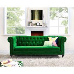 Hanny Green Velvet Sofa | Overstock.com Shopping - The Best Deals on Sofas & Loveseats