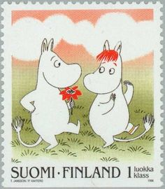 Stamp: Moomin troll dancing with Snork girl (Finland) (Moomins) Mi:FI Tove Jansson, Lappland, Children's Book Illustration, Mail Art, Stamp Collecting, Conte, Postage Stamps, Illustrators, Fairy Tales