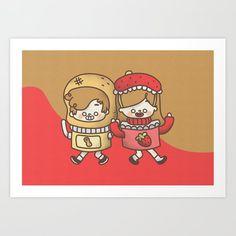 Peanut Butter and Strawberry Jelly Art Print by okinishiro Cute Couple Comics, Couples Comics, Strawberry Jelly, Cute Gifts, Cute Couples, Peanut Butter, Art Prints, Fictional Characters, Strawberry Jam