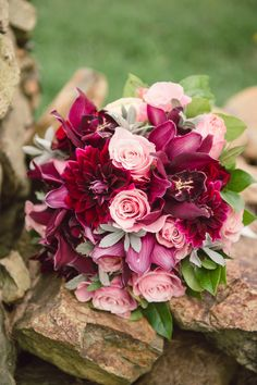 Burgundy and Pink Bridal Bouquet with Dahlias and Roses