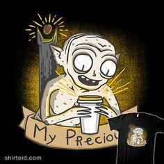 My Precious Coffee | Shirtoid #caffeine #coffee #doodletoots #eyeofsauron #gollum #jrrtolkien #smeagol #thelordoftherings