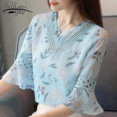 9a850b4580cb 2018 fashion print chiffon blouse women shirt flare sleeve summer women  tops hollow chiffon women blouses