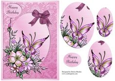 Lilac Butterfly  on Craftsuprint designed by Denise Rhodes - Beautiful lilac butterfly birthday card front with oval pyramage. Please click my name above to view my other designs. - Now available for download!