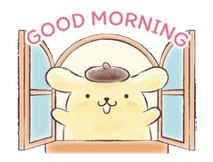 LINE Official Stickers - Pompompurin (Watercolor Style) Example with GIF Animation Cute Good Morning Gif, Good Morning Cartoon, Good Morning Animation, Good Morning Greetings, Happy Stickers, Love Stickers, Keroppi Wallpaper, Cartoon Stickers, Cartoon Gifs