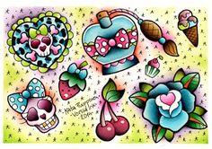 Vorssa Ink by Kata Puupponen Tattoo Flash Print Sheet cherries