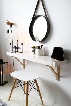 If you need a vanity unit or small dressing table in your bedroom, fitting a flo. If you need a vanity unit or small dressing table in your bedroom, fitting a floating shelf is an e Shelves In Bedroom, Room Decor, Decor, Apartment Decor, Home, Interior, Small Dressing Table, Bedroom Design, Home Decor