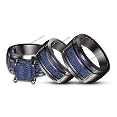 14k Black Gold Round Blue Sapphire Bride & Groom Engagement Trio Ring Set 1.26CT