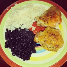 Baked Chicken with Black Beans and Rice.