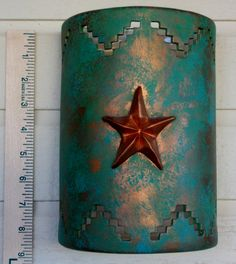 Ceramic Wall Sconce with a 3d Texas star and patina turquoise made to order in NM USA - pinned by pin4etsy.com