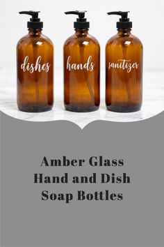 Organize your kitchen sink in seconds with these modern, customized amber glass bottles for your kitchen counter. Farmhouse Home decor - Kitchen Organization - Custom Home Decor - Organize your Kitchen - Housewarming Gifts - Refillable Soap Dispensers Farmhouse Kitchen Decor, Home Decor Kitchen, Kitchen Sink, Dish Soap Dispenser, Soap Dispensers, Amber Glass Bottles, Housewarming Gifts, Custom Labels, Bottle Labels