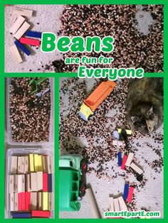 Beans, blocks, scoops, and trucks: this was fun at three years old and is at five, too! Love this easy-clean sensory kindergarten brain break. Tot Trays, Brain Breaks, Three Year Olds, Teaching Tips, Kindergarten, Homeschool, Beans, Trucks, Cleaning