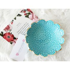 Ceramic Lace Bowl ❤ liked on Polyvore featuring home, kitchen & dining, serveware, ceramic berry bowl, jewelry bowl, ceramic bowl, ceramic serveware and lace bowl