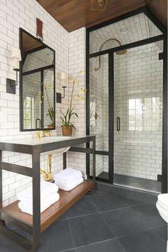Choosing New Bathroom Design Ideas 2016. Metering the black in the frames of furniture and doors
