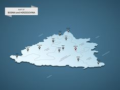 Isometric 3D Bosnia and Herzegovina map, vector illustration with cities, borders, capital, administrative divisions and pointer marks; gradient blue background. Concept for infographic.