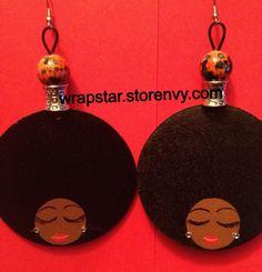 Afro earrings Fro love wrapstar.storenvy.com