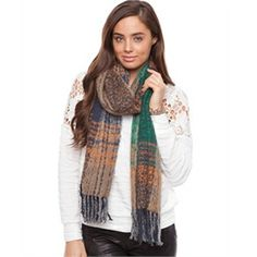 Morgan & Taylor Soft Scarf with Fringing Scarves & Glovesin Turquoise & Brown - Clothing Direct From The Factories