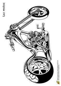 Coloriage d'une belle moto avec un guidon très long