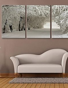 E-HOME® Stretched Canvas Art Snow Scene Decoration Painting ... – AUD $ 121.54