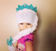 Disney Frozen Hat - Princess Elsa Hat with Crown and Long Braid - Choose The Size - Infants, Children or Adults