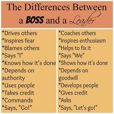 The Difference Between a #Boss and a #Leader Which are you? #LeaderVSBoss