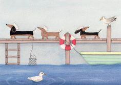 Water-loving dachshunds (doxies) find seagull friends / Lynch signed folk art print via Etsy