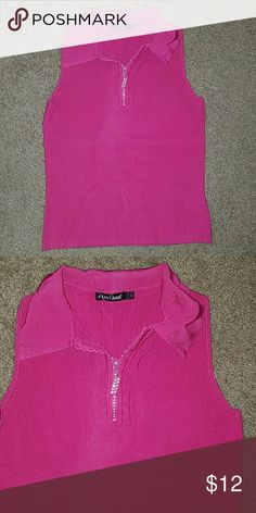 Fushia collared Tank Top Shirt rhinestone zipper JUST LOWERED PRICE NO OFFERS ACCEPTED BUT YOU CAN GET 20% OFF IF YOU BUNDLE  Fushia collared Tank Top Shirt rhinestone zipper Sz small *zipper metal is missing a little pink paint off of it Fontana Tops Tank Tops