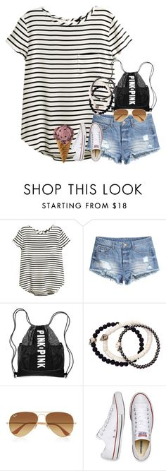 """""""ootd// Universal Studios!!!☀️"""" by sdyerrtx ❤ liked on Polyvore featuring H&M, Duchess of Malfi, Ray-Ban and Converse"""