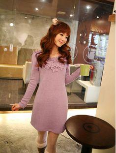 asian fashion sweet long sleeve dress Y1299 Purple
