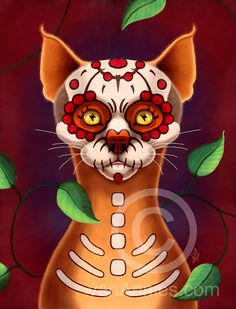 Dulce Gato  Sugar Scull Cat Fine Art Print by vanAnnies on Etsy, $15.00