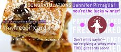 Wow! Thanks again to EVERYONE, for all your contest entries. We had our hands full. Literally. But we've got the winning name, so... we're happy to announce the lucky winner of our ‪#‎myfreegiftcard‬ Contest is Jennifer Pirraglia! Congratulations! And stay tuned—more FREE gift cards to give a-whey soon! From the entire @proteinbakery team—‪#‎YouGuysAreAwesome‬!
