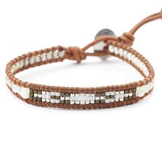 White Beaded Single Wrap Bracelet on Natural Brown Leather