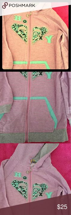 Ultra cute little girls Roxy hoodie Pink turquoise and grey hoodie with distressed roxy logo and logo zipper pull. Super cool for your little surfer girl! <3 Roxy Shirts & Tops Sweatshirts & Hoodies