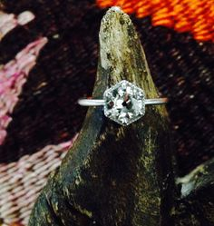 Custom Deco Hexagon Mine Cut Diamond Engagement Ring by LovelyRandomObjects on Etsy https://www.etsy.com/listing/230825250/custom-deco-hexagon-mine-cut-diamond