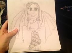 Dragon Girl Drawing, requested by @marasophieden, drawn by @StrangeFangirl