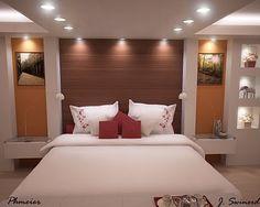 Painel e sanca de drywall no quarto de casal Indian Bedroom Design, Bedroom Wall Designs, Bedroom False Ceiling Design, Bedroom Bed Design, Home Decor Bedroom, Modern Bedroom, Plafond Design, Drywall, Suites