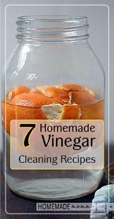 7 Homemade Vinegar Cleaning Recipes | www.homemademommy... #essentialoils #diycleaner