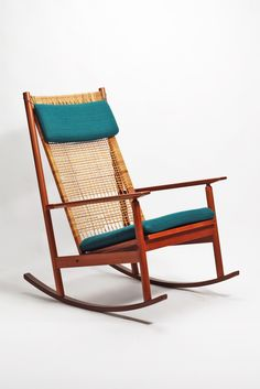 Hans Olsen, Teak and Cane Rocker, 1956.