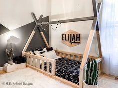 Diy Toddler Bed, Boy Toddler Bedroom, Toddler Rooms, Baby Boy Rooms, Girls Bedroom, Toddler Floor Bed, Childs Bedroom, Kid Bedrooms, Child Room