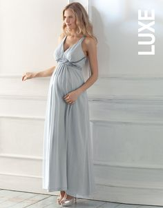 Blue Beaded Maternity Evening Dress