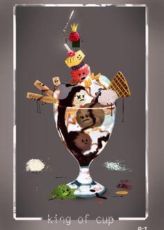 art - draw - drawing - sword - paint - painting - CDC - cartoon - food - dessert - hungry - king - ice cream