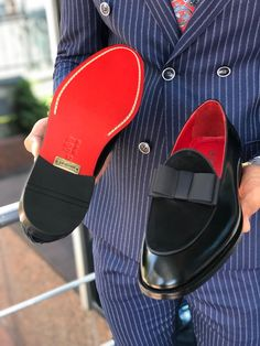 Polished Leather Sardinelli Loafers With Silk Bow – brabion Penny Loafers, Leather Loafers, Calf Leather, Bow Shoes, Dress Shoes, Black Pumps, Black Shoes, Tuxedo Shoes, Bowling Shoes