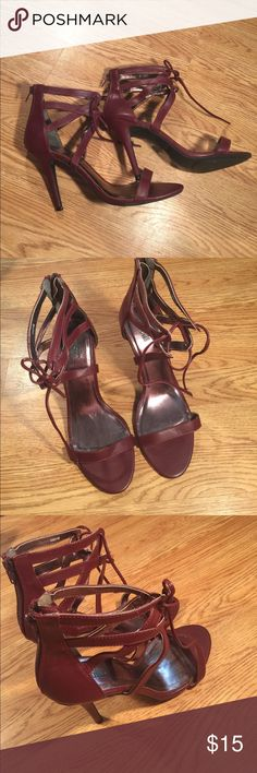 Charlotte Russe wine lace open toed stilettos 10 Gorgeous! Yet I almost broke my leg see the heal photos! Worn down the stairs and back inside lol! The heal is dinged from my um fall. They are 4inch heel. Any questions or more pics ask Charlotte Russe Shoes Heels