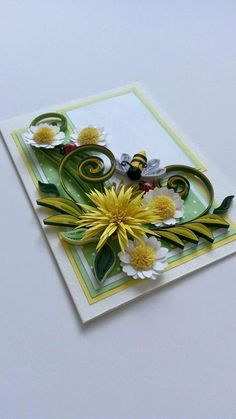 Quilling card with paper flowers  Quilling daisies  by Gericards