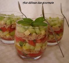 Tartare de tomates, de concombre et de thon