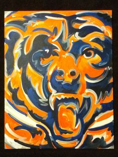 Chicago Bears painting. This is an original painting by artist Justin Patten, and is being sold by the artist.    This painting will come with a glossy wet finish that will help to protect the painting, and bring out its true colors. The painting comes ready to frame due to the common size of the canvas. Size: w22 x h28
