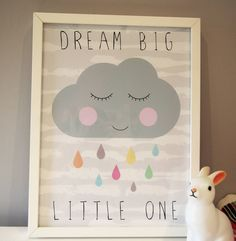 A beautiful modern print of a cloud, perfect for a baby or childs bedroom/nursery. Featuring a lovely grey cloud with coloured raindrops. (not framed)It is available in different colours please ask us!This print looks just gorgeous in a babies nursery or young childs bedroom. We also have 2 other matching prints in this range - a Cloud and a Star so you could have a set of 3! Featuring the words: Dream Big Little one (can be altered to suit your theme)Printed on A3 high quality Matte 230gsm…