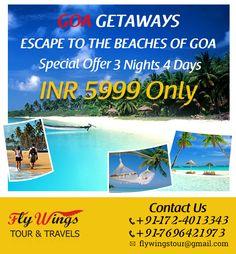 Enjoy exciting #Goa #Tourpackage at Flywings tour & Travels. #Chandigarh #Mohali #Panchkula #Taxiservice #Touroperator #Tempotraveller #Kharar